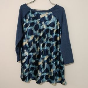 Hannah Blouse with Blue Animal Print Size XL